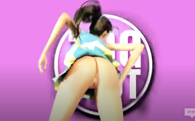 Young brunette with long legs is dancing and twerking