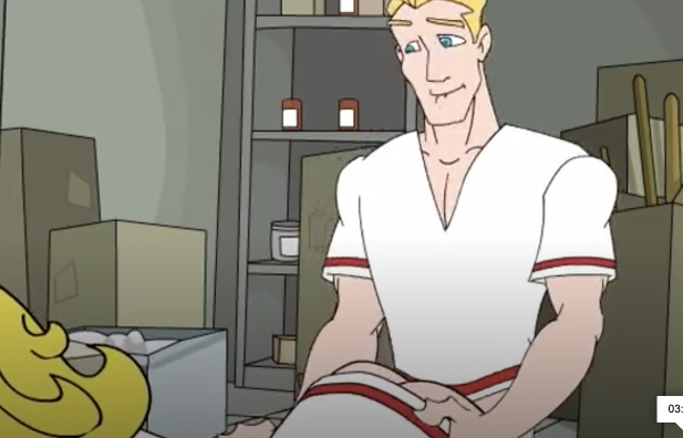 Sexy blonde nurse with a big ass is fucked in a cartoon
