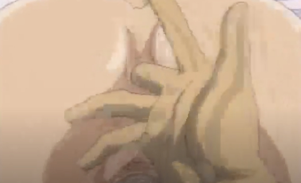 Dominant guy cums inside an anime girl's ass