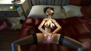 3D Asian brunette wears stockings and masturbates