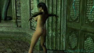 Exotic elf slut is showing off her body while dancing