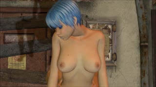 Blue-haired girl rides her boyfriend passionately in a back alley