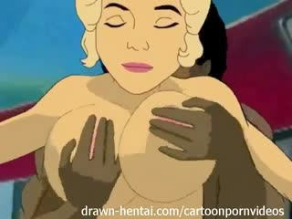 Beautifully drawn cartoon sex scene focusing on interracial fucking in outer space