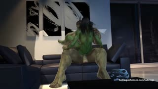 Hulk and his muscular girlfriend have a monstrous fuck