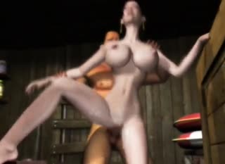 Asian with massive boobs is penetrated by his sausage
