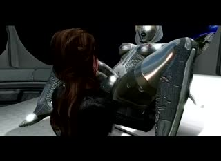 Horny babe gets fucked by a futanari 3D robot