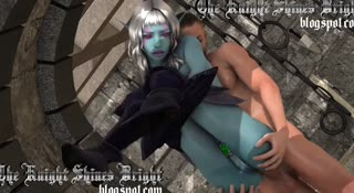 Blue Elf female gets ass fucked while standing by a human