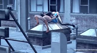 Supergirl and Catwoman have 3D action on the rooftop