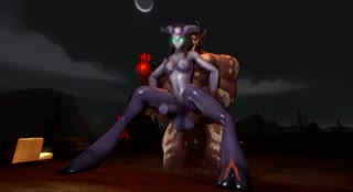 Purple futanari with horns riding on a thick orc cock