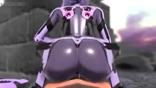 Sexy android babe fucks a human in the reverse cowgirl position