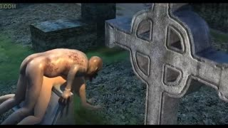 Ghoul with a huge dick is having sex at the graveyard